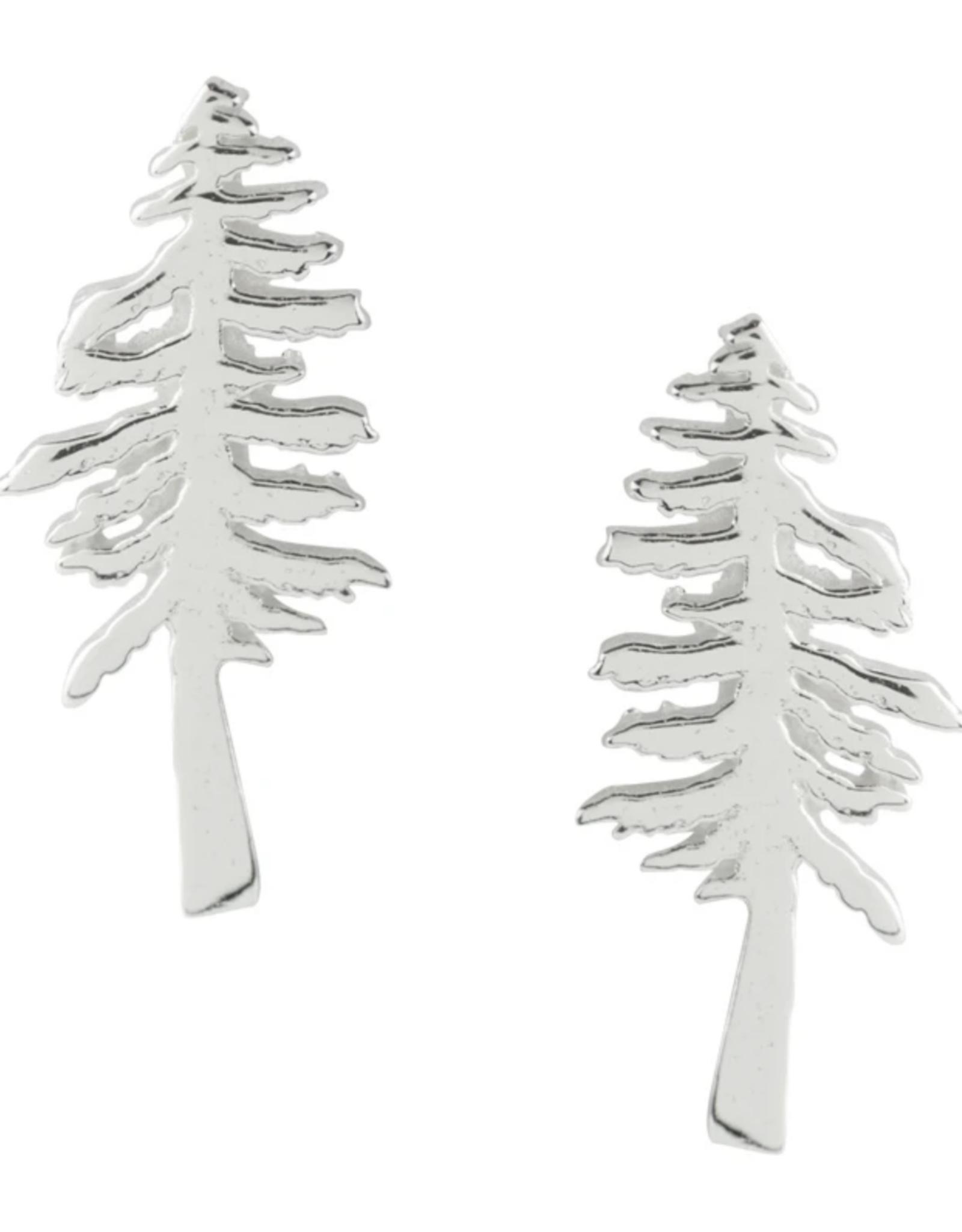 EARRING POST REDWOOD TREE SILVER