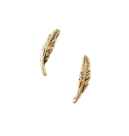 EARRING POST FEATHER SMALL GOLD