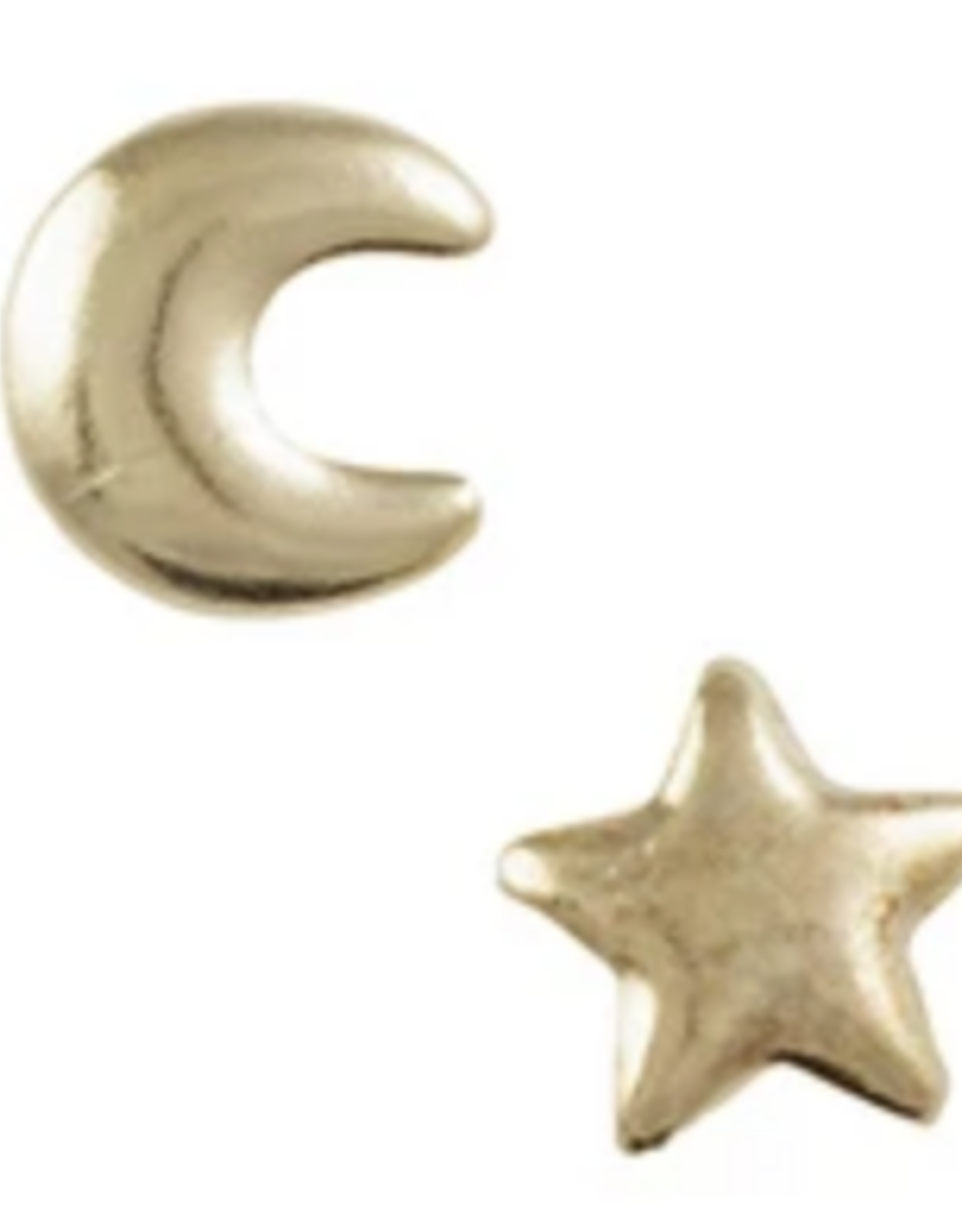 EARRING POST STAR AND MOON GOLD
