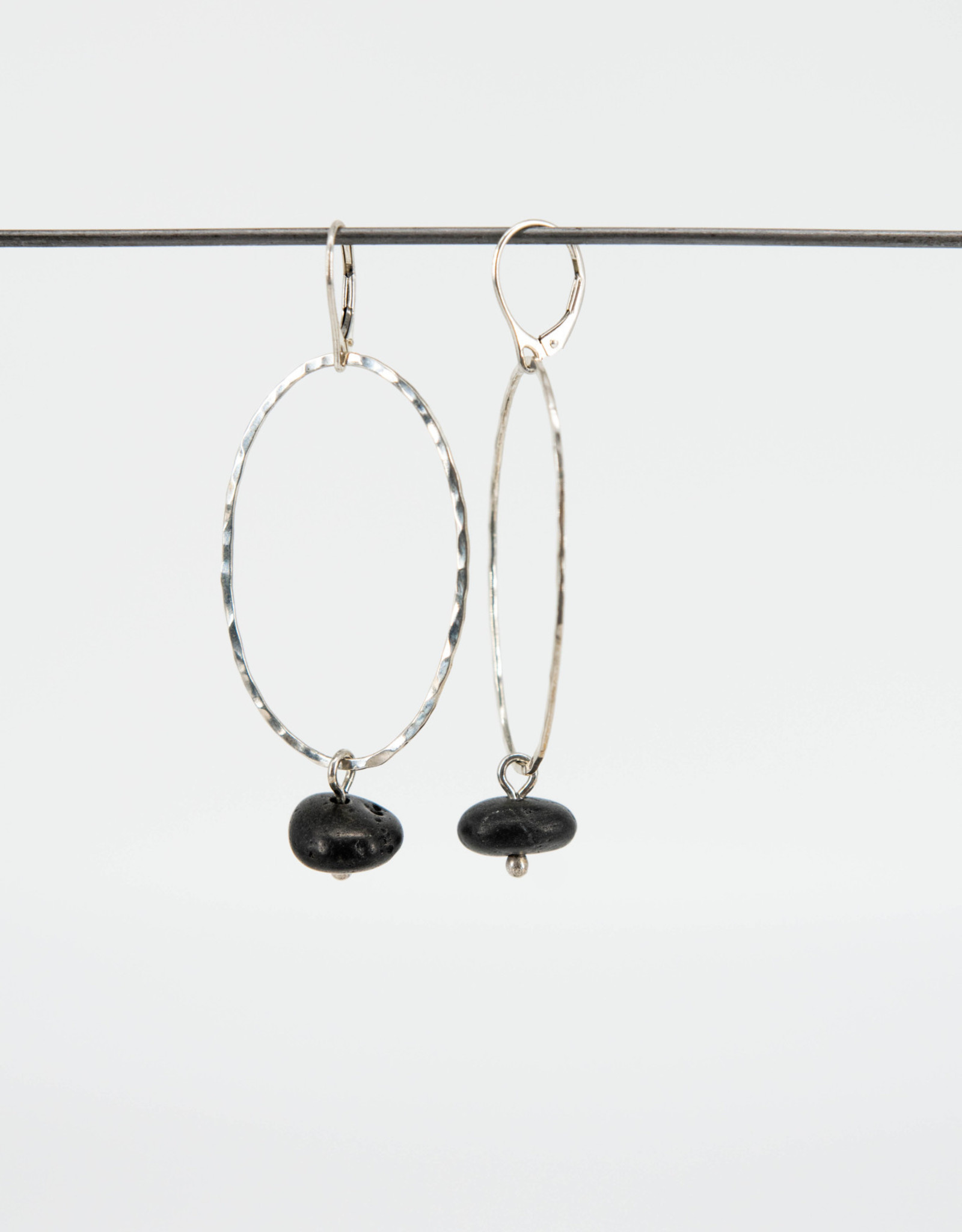EARRING STONE ON LONG EARWIRE AND ROUND DROP CROP CIRCLES