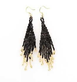 EARRING BLACK AND GOLD SMALL FRINGE