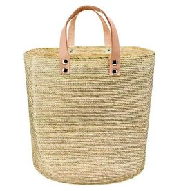 BASKET PALM STRAW LEATHER HANDLE HOME