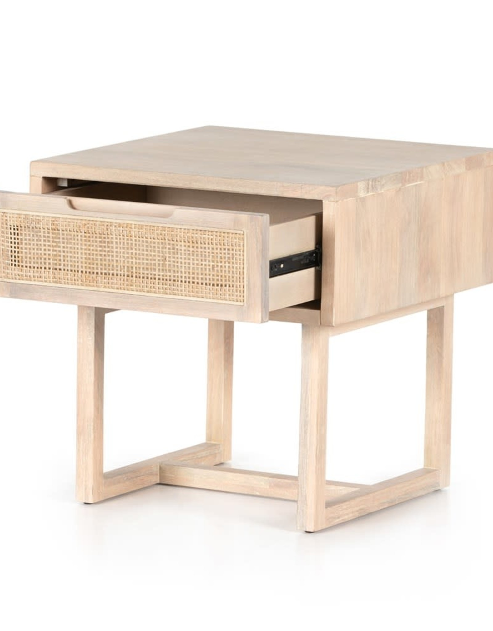TABLE END CLARITA WHITE WASH MANGO