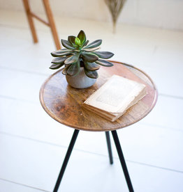 TABLE SIDE ROUND MANGO WITH METAL HAIRPIN LEGS