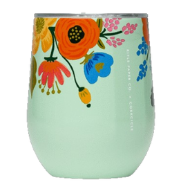 CUP TRAVEL STEMLESS WINE GLASS RIFLE PAPER FLORAL MINT TEAL