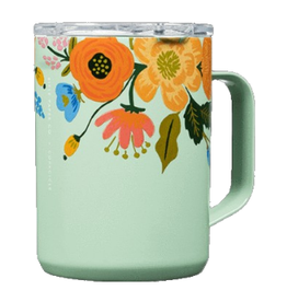 TRAVEL MUG RIFLE PAPER FLORAL MINT TEAL STAINLESS STEEL 16OZ