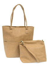 JOY SUSAN 2-IN-1 TOTE AND CROSSBODY PURSE KELLY NORTH SOUTH VEGAN LEATHER CAMEL