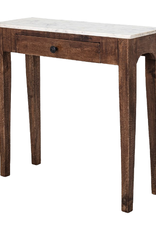 SIDE TABLE MANGO WOOD WITH MARBLE TOP AND DRAWER