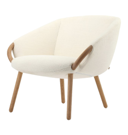 CHAIR ROUND IVORY WHITE BOUCLE WITH OAK WOOD LEGS