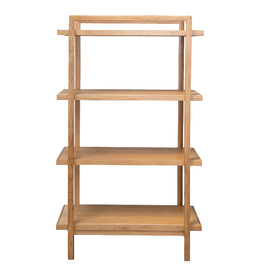 BOOKSHELF 5-TIER OAK WITH REVERSIBLE SHELVES WHITE AND WOOD