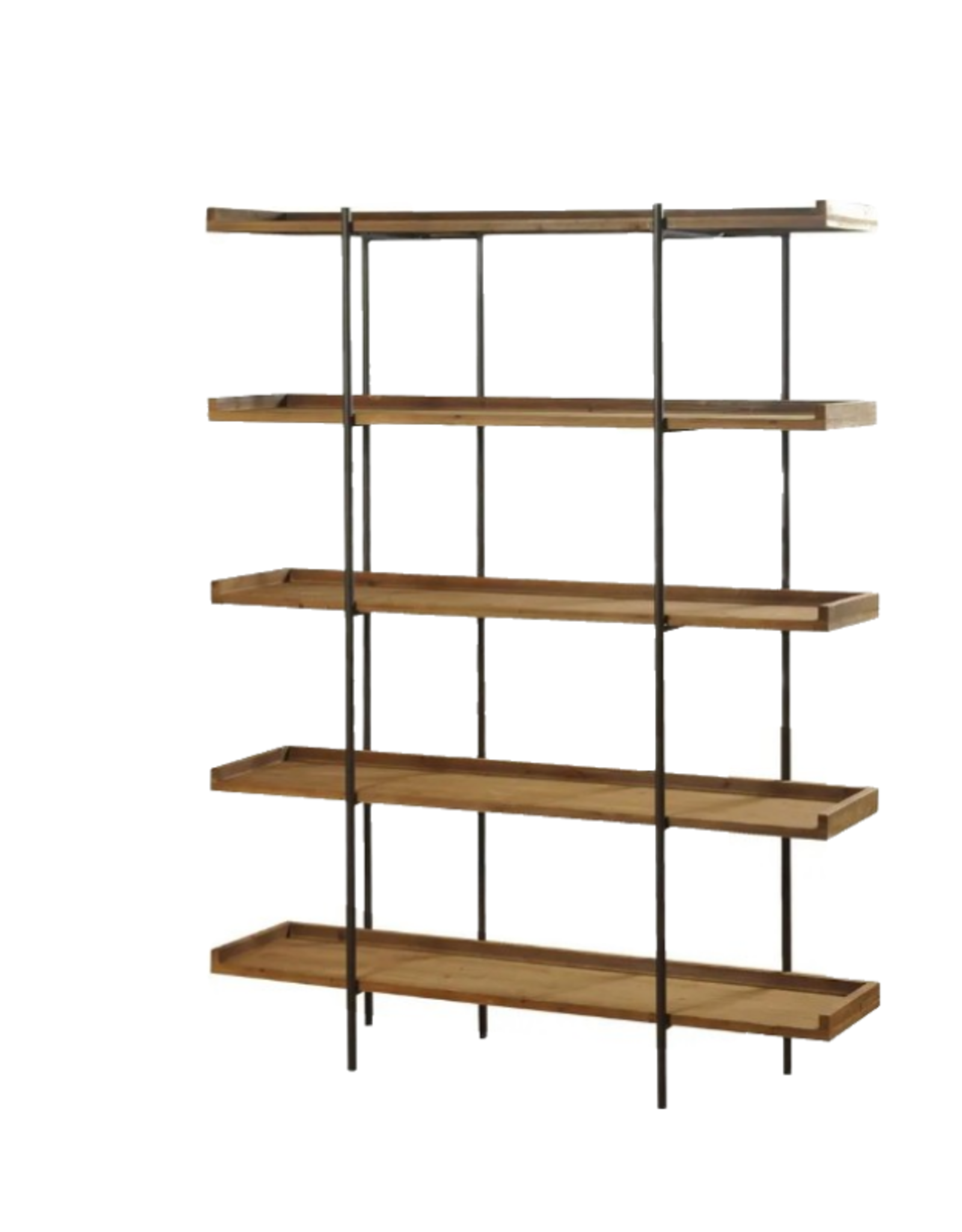 BOOKCASE 5 SHELF METAL AND NATURAL WOOD