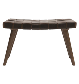 BENCH WOVEN LEATHER AND MANGO WOOD