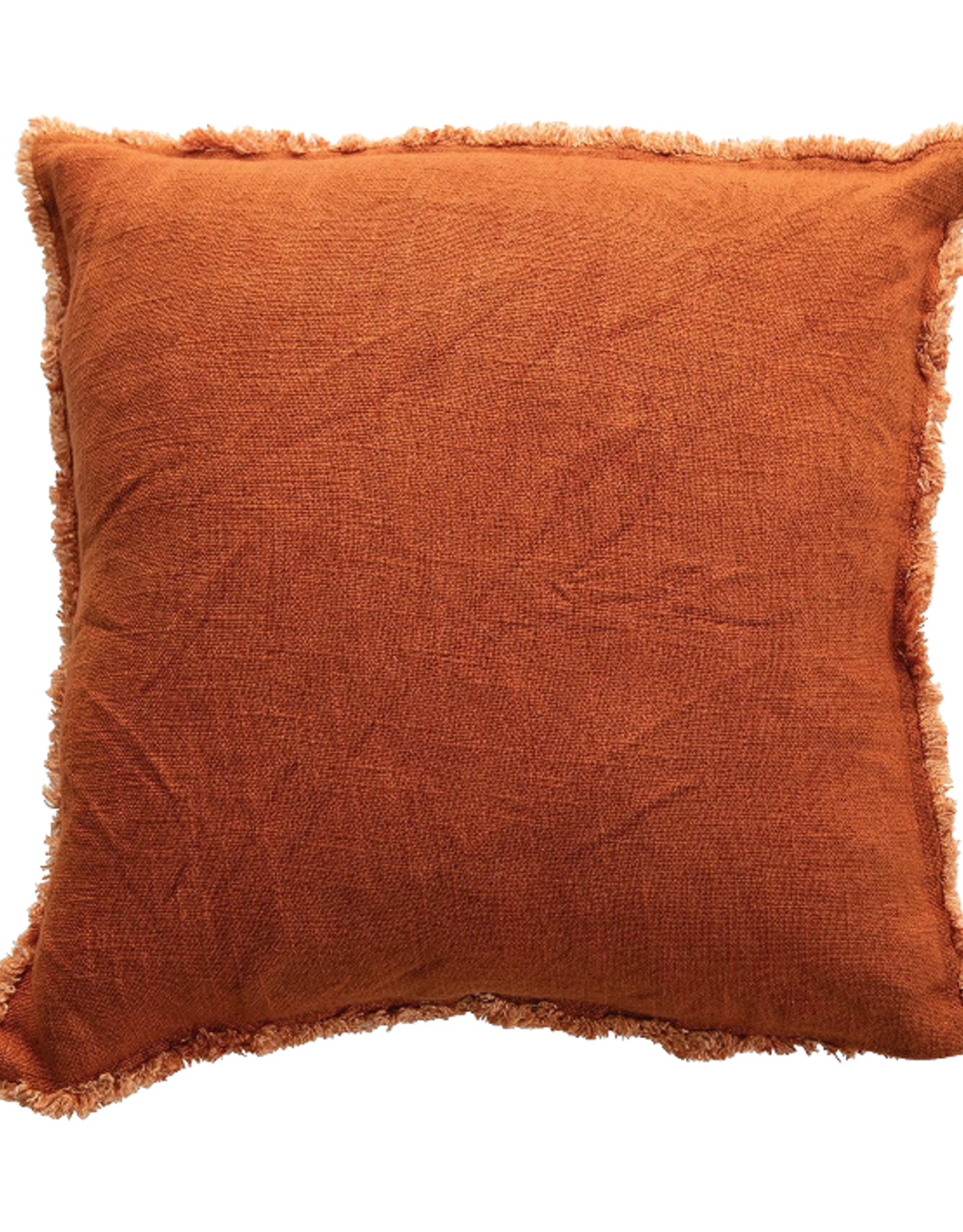 """PILLOW SQUARE RUST RED LINEN WITH FRINGE 18X18"""""""