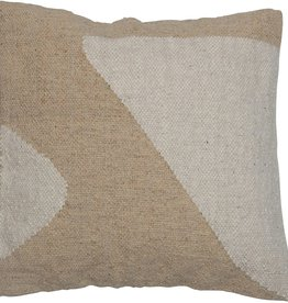 """PILLOW SQUARE COTTON AND WOOL KILIM BEIGE AND CREAM GEOMETRY 20X20"""""""