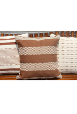 PILLOW 20 X 20 COTTON AND WOOL OFFWHITE AND RUST
