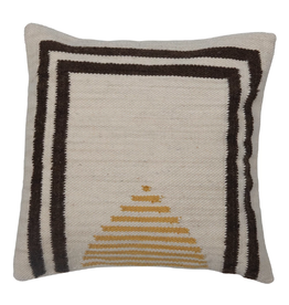 """PILLOW SQUARE COTTON AND WOOL KILIM YELLOW TRIANGLE BLACK BORDER 20X20"""""""