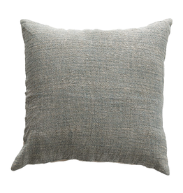 PILLOW 20X20 COTTON AND LINEN BLUE AND BROWN FADED STRIPES