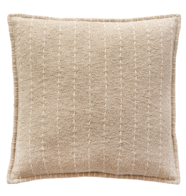 """PILLOW BEIGE HAND-QUILTED STRIPES 20X20"""""""