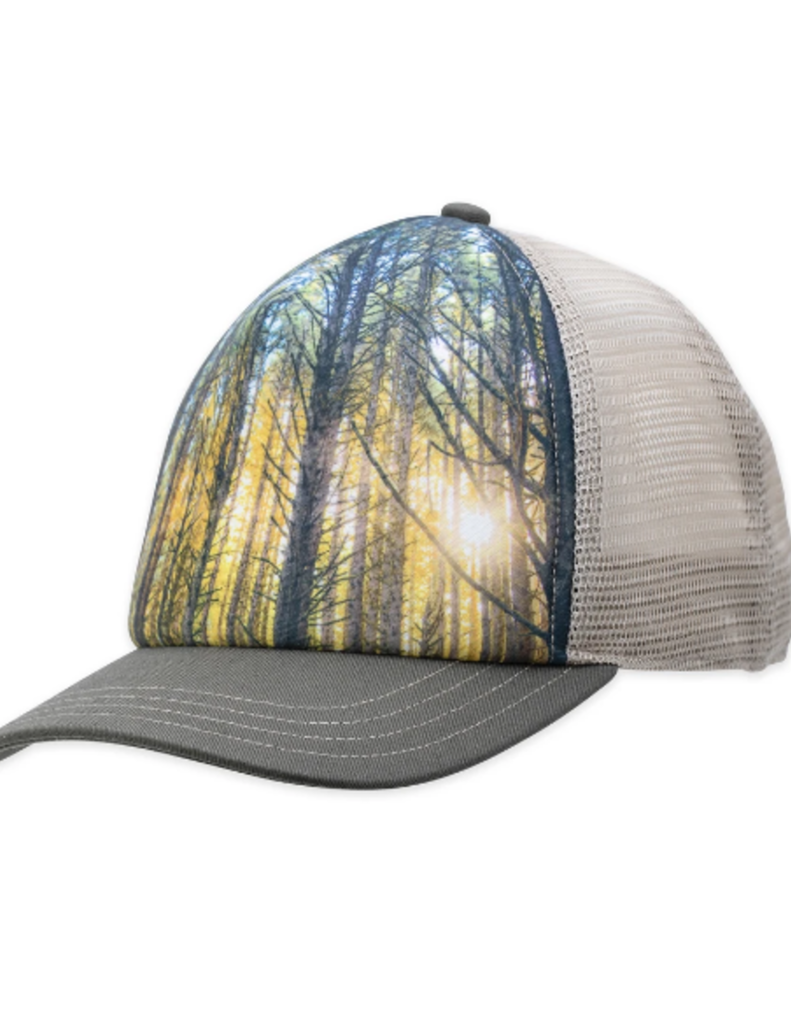 HAT TRUCKER CAP DUSK PRINTED NATURE SCENE OLIVE GREEN