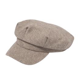 FISHERMAN CAP HAT SALTON BEIGE AND GRAY CHEVRON POLYESTER