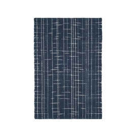 RUG FLINT WOVEN COTTON NAVY BLUE AND WHITE CROSS-HATCH PATTERN 2X3'
