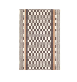 RUG XAVIER WOVEN COTTON BROWN STRIPES AND CHECKER PATTERN 2X3'