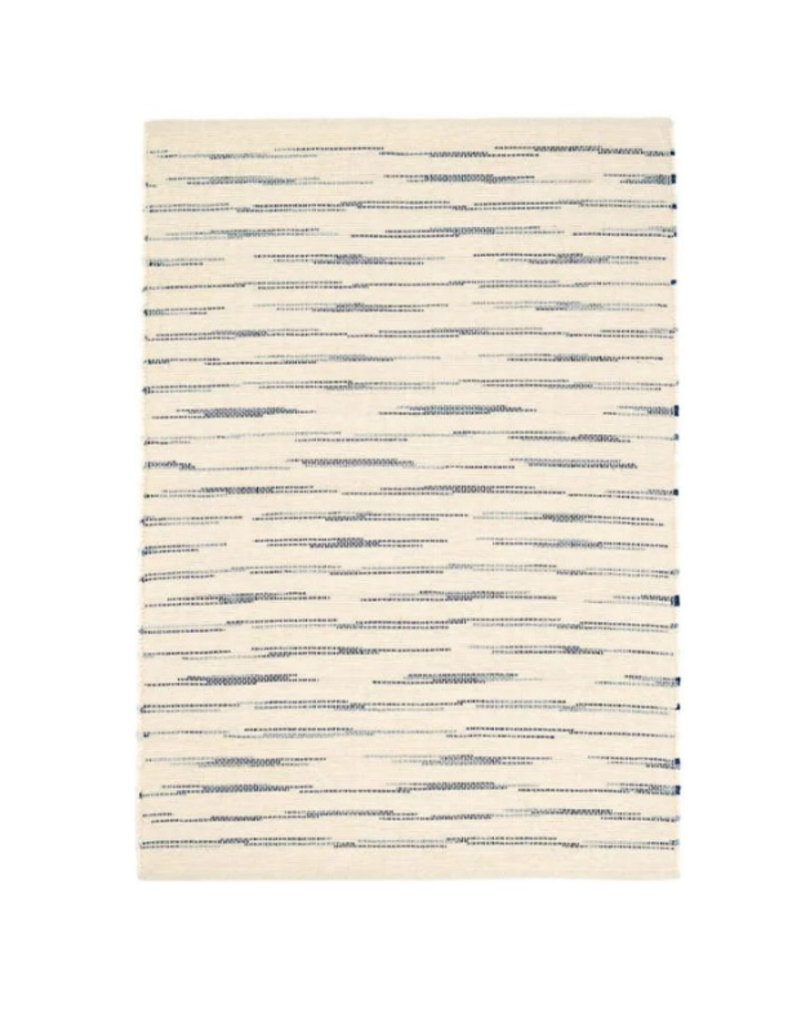 RUG SOLANA WOVEN WHITE COTTON WITH NAVY BLUE STRIPES RUNNER 2.5X8'