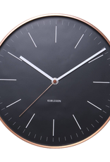 WALL CLOCK MINIMAL BLACK BACKING WITH ROUND COPPER FRAME