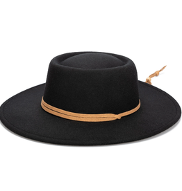 BOATER HAT FLAT BRIM POLYESTER WITH ADJUSTABLE FAUX LEATHER CHIN CORD