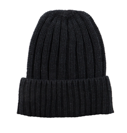 BEANIE HAT KNITTED RECYCLED POLYESTER BLACK