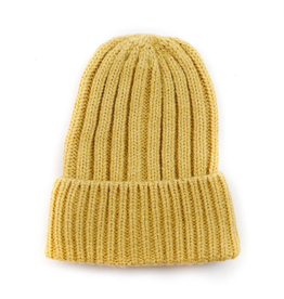 BEANIE HAT KNITTED RECYCLED POLYESTER CAMEL