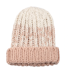 BEANIE HAT BRISK WHITE AND BLUSH OMBRE KNIT ACRYLIC