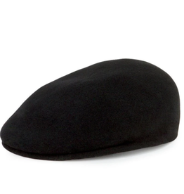 DRIVERS HAT BLACK BOILED WOOL WITH ELASTIC BAND