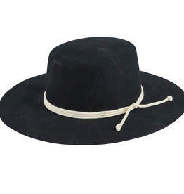BOATER HAT WYNOLA BLACK WOOL FELT WITH WRAPPED COTTON ROPE TRIM