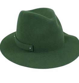 FEDORA HAT PACKABLE OLIVE GREEN WOOL FELT
