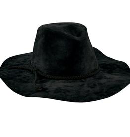FEDORA HAT FLOPPY WIDE BRIM WITH BRAIDED BLACK TRIM BLACK