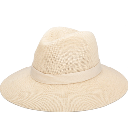 SUNSHADE HAT BEIGE MACHINE KNIT COTTON POLYESTER BLEND WITH FAUX SUEDE TRIM