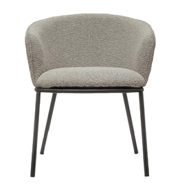 CHAIR TAUPE BOUCLE WITH BLACK METAL LEGS