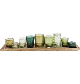 SET OF 9 VOTIVE CANDLE HOLDERS WITH WOOD TRAY GREEN GLASS