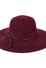 SUNSHADE HAT WINE RED KNIT WOOL BLEND WITH BRAIDED FAUX LEATHER TRIM
