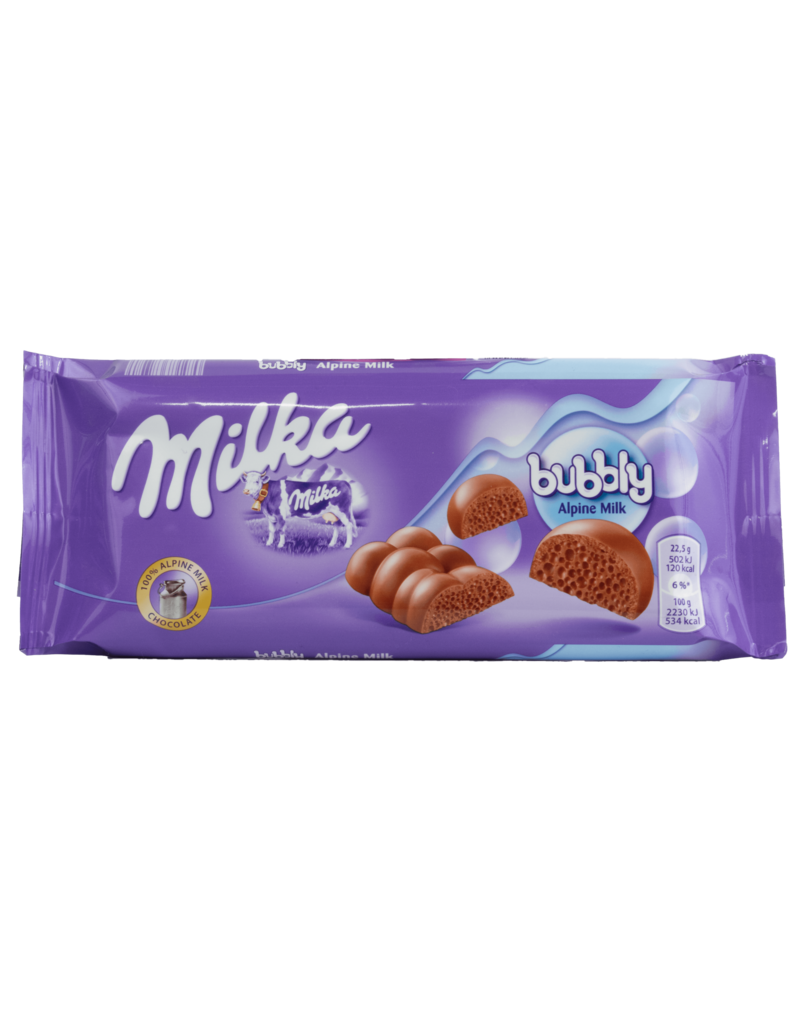 Milka Milka Bubbly Apline Milk Chocolate Bar 90g
