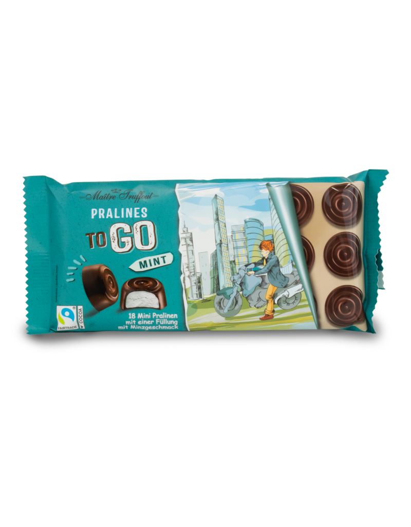 Maitre Truffout Maitre Truffout Prailines to Go Milk Chocolate with Mint 100g
