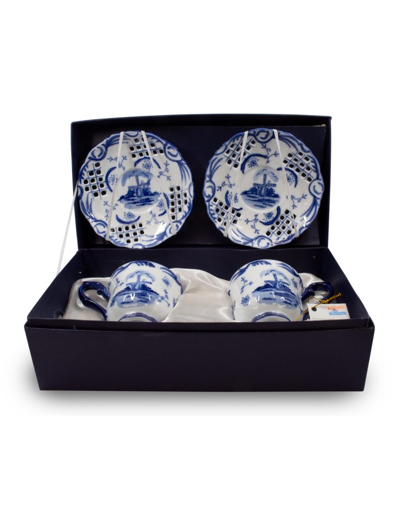 Delft Blue Cup & Saucer Set 4pcs