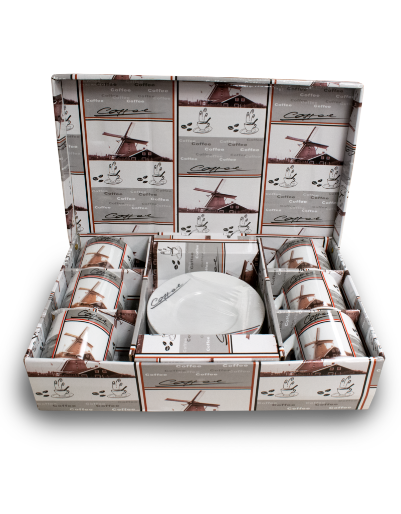 Dutch Windmill Coffee Cup & Saucer 6pc Gift Set