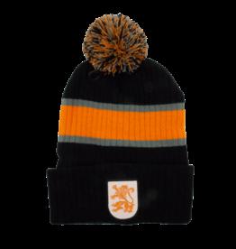 Toque - Lion with Pompom, Striped Black Grey Orange