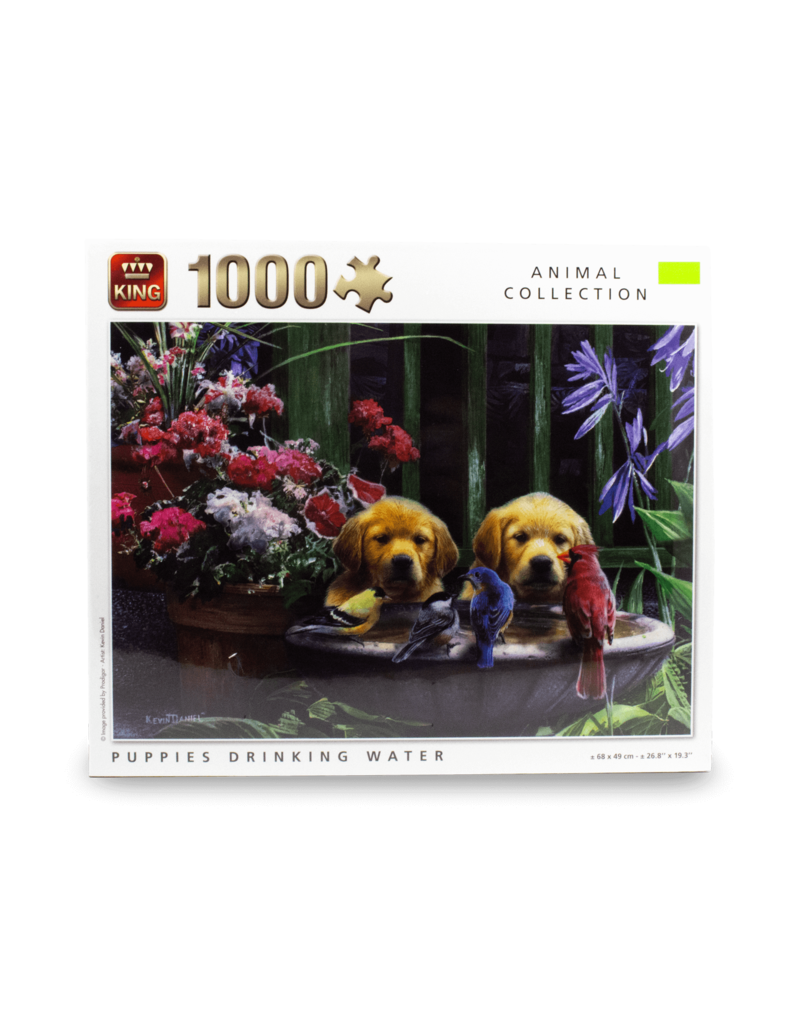 King Puzzle - 1000pcs - Puppies Drinking Water