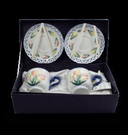 Royal Tulips Cup & Saucer Set 4pcs