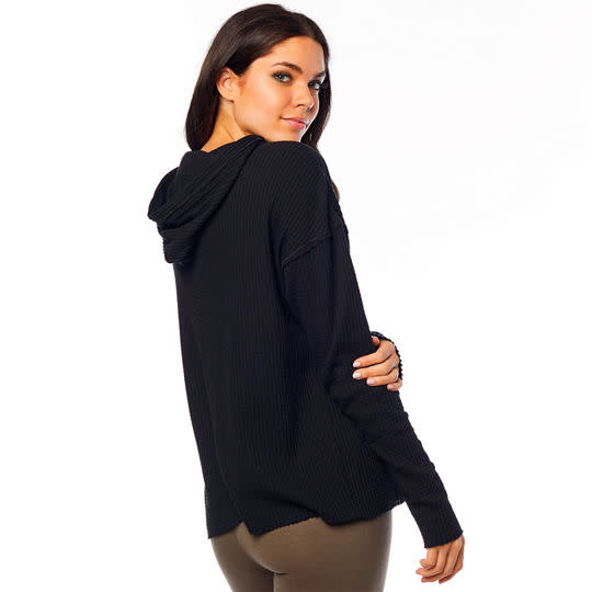 WOMENS PULL ME OVER LS HOODY TOP [BLACK] L