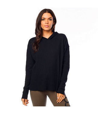 Fox WOMENS PULL ME OVER LS HOODY TOP [BLACK] L