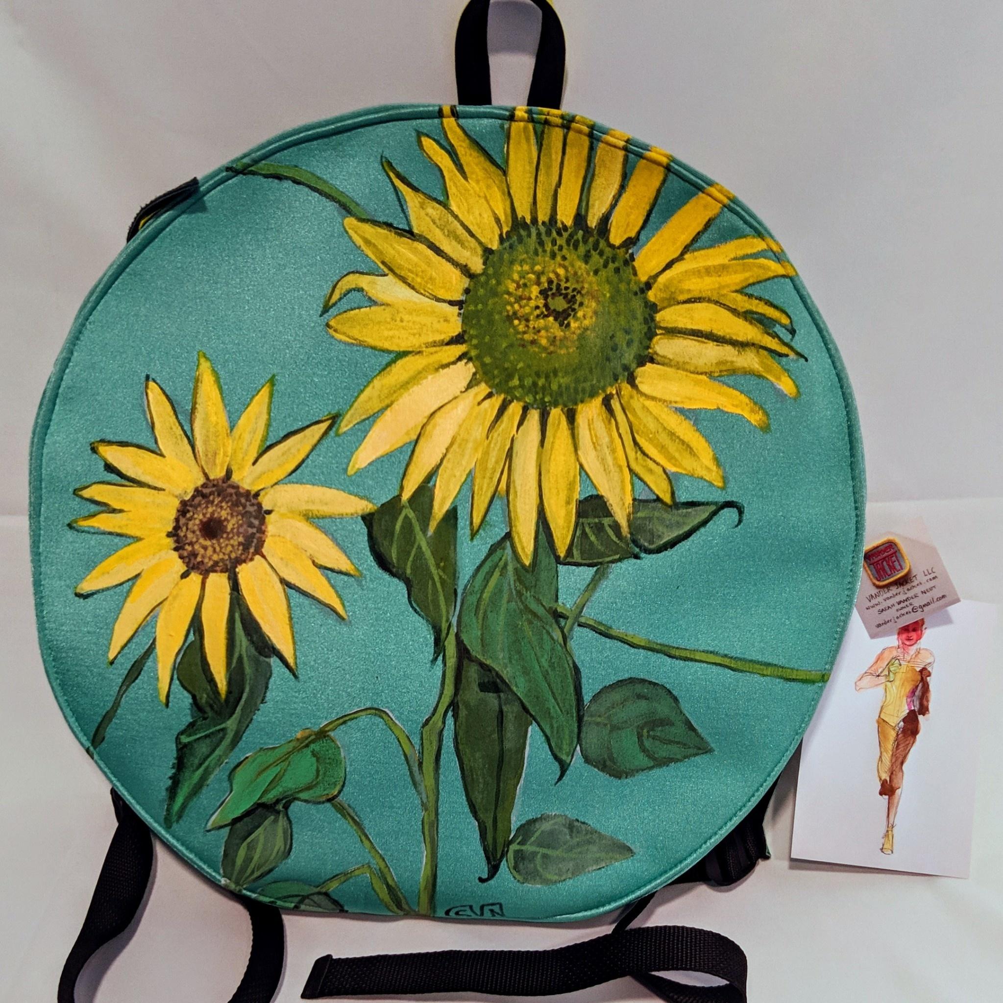 Sarah Vanderneut Neoprene Backpack Green - Hand Painted Floral Design